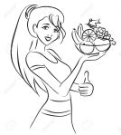 Woman and healthy dish with fruits