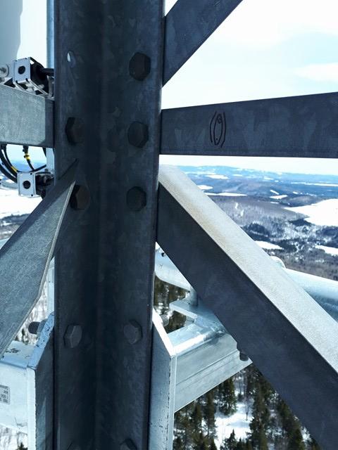 Monteuse anonyme de tour Télécom 200 pieds dans les airs